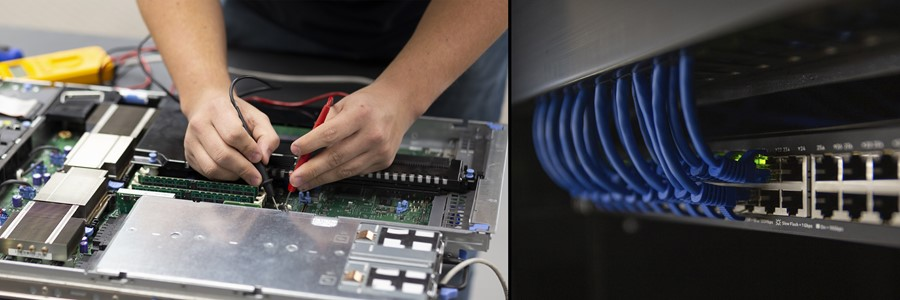 Student working on a server and a photo of patch cables connected to a network switch